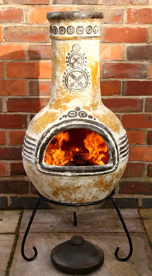 large mexican clay chimenea fireplace azteca yellow